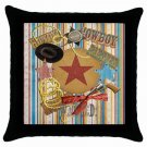 Boy's Cowboy Western Throw Pillow Case bedroom decor Black Border 17768514