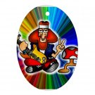 Hippie Retro Design Porcelain Oval Shape Christmas Tree Ornament 16972271 BSEC