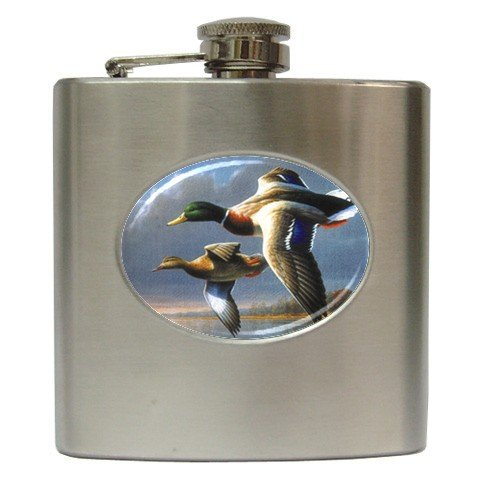 DUCKS MALLARDS Hip Flask Men's Gift 6 oz. 17160684