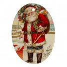 Vintage Santa Clause Design Porcelain Oval Shape Christmas Tree Ornament 23174717 BSEC
