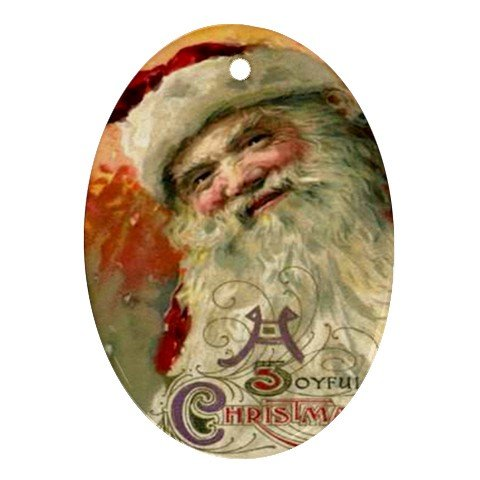 Santa Clause Vintage Design Porcelain Oval Shape Christmas Tree Ornament 23174762 BSEC