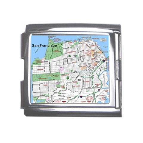 SAN FRANCISCO Map Souvenir Italian Charm  Bracelet Single MEGA Charm Size 18mm 23653152