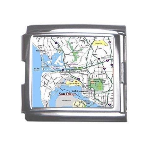 SAN DIEGO Map Souvenir Italian Charm  Bracelet Single MEGA Charm Size 18mm 23653155