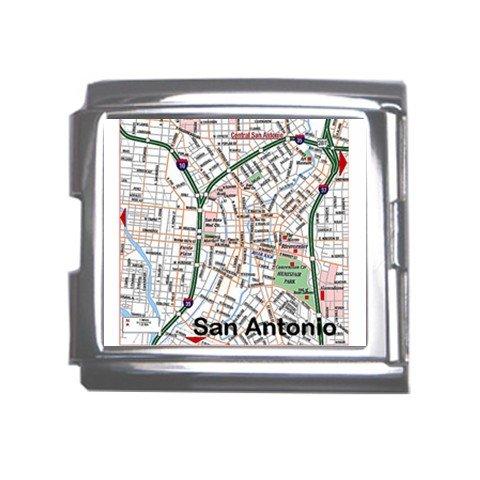 SAN ANTONIO Map Souvenir Italian Charm  Bracelet Single MEGA Charm Size 18mm 23653156
