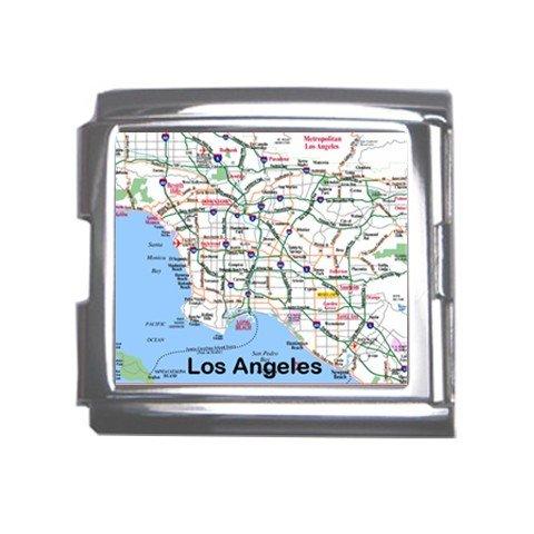 LOS ANGELES Map Souvenir Italian Charm  Bracelet Single MEGA Charm Size 18mm 23655222