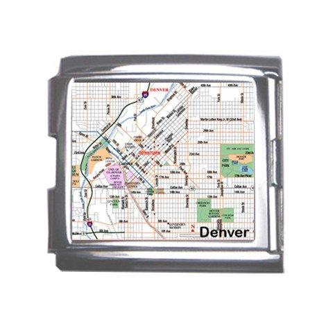 DENVER Map Souvenir Italian Charm Bracelet Single MEGA Charm Size 18mm 23655378