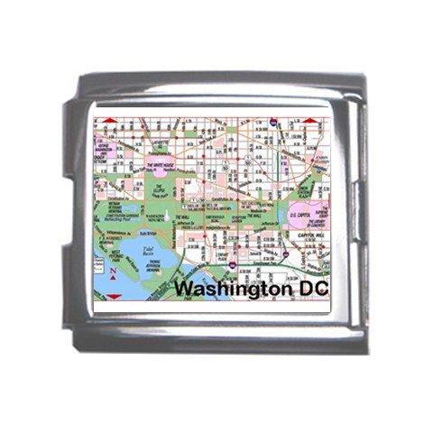 WASHINGTON DC Map Souvenir Italian Charm Bracelet Single MEGA Charm Size 18mm 23655703