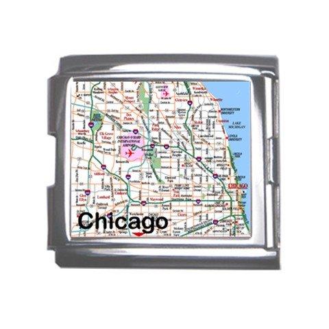 CHICAGO Map Souvenir Italian Charm Bracelet Single MEGA Charm Size 18mm 23655705