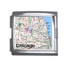 CHICAGO Map Souvenir Italian Charm Bracelet Single MEGA Charm Size 18mm 23655705