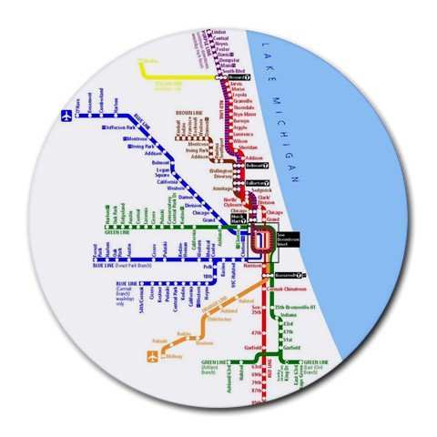 CHICAGO SUBWAY MAP Round Mousepad Office 14537815