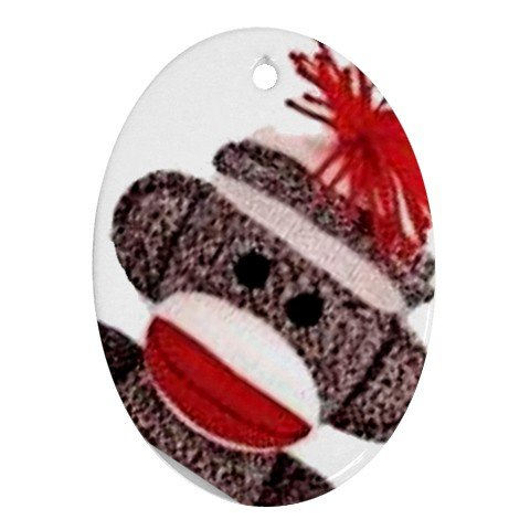 SOCK MONKEY Design Porcelain Oval Shape Christmas Tree Ornament 25916322 BSEC