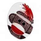 SOCK MONKEY Design Porcelain Oval Shape Christmas Tree Ornament 25916322 BSEC
