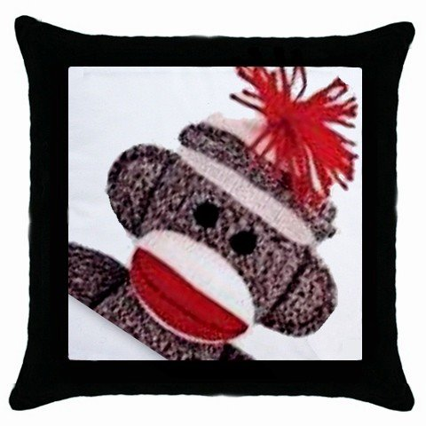 SOCK MONKEY Throw Pillow Case bedroom decor Black Border 25916327 BSEC