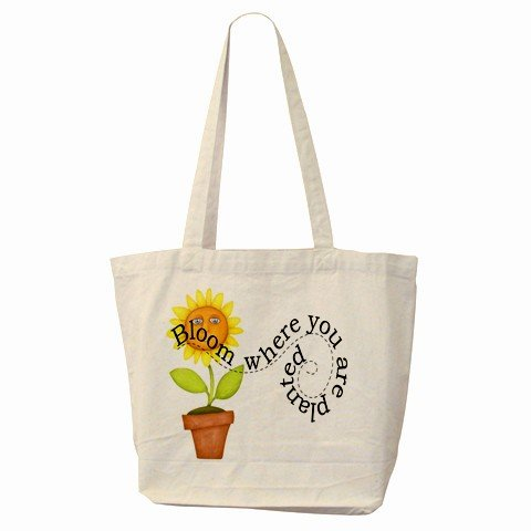 Blooming Flower Large Canvas Tote Bag 18 x 14 inches Handbag 27028725