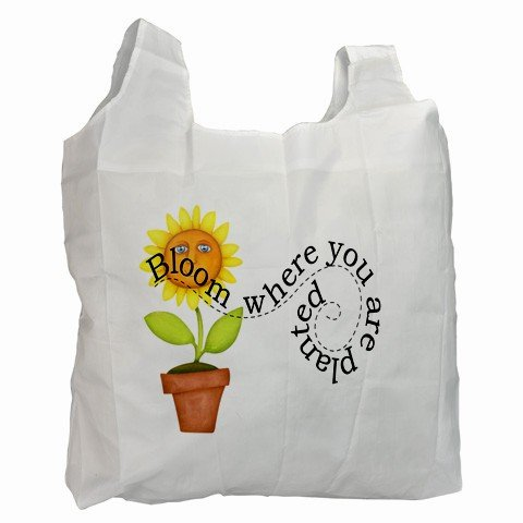 Blooming Flower Polyester Recycle Green Tote Bag Grocery Bag 13.75 x 16 inches Handbag 27028726