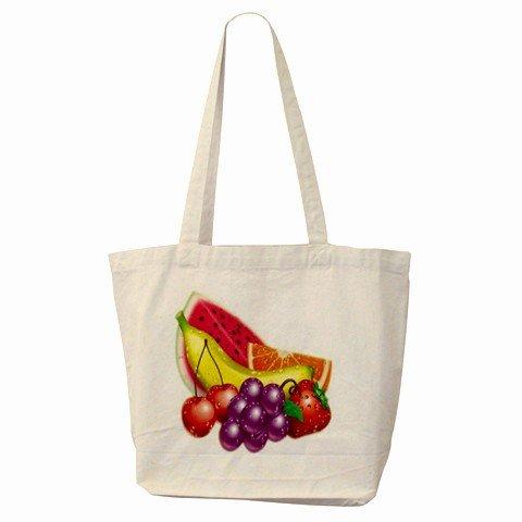 COLORFUL MIXED FRUIT Large Canvas Tote Bag 18 x 14 inches Handbag 27028741