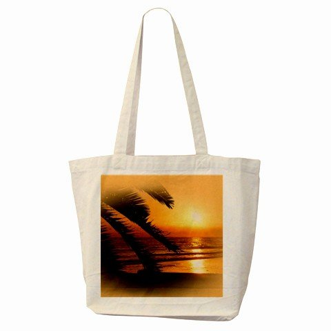 BEACH SUNSET SCENE Large Canvas Tote Bag 18 x 14 inches Handbag 27028755