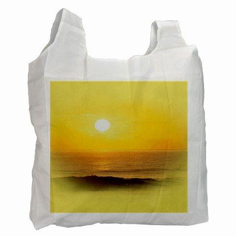 YELLOW BEACH SCENE Polyester Recycle Green Tote Bag Grocery Bag Handbag 27028761