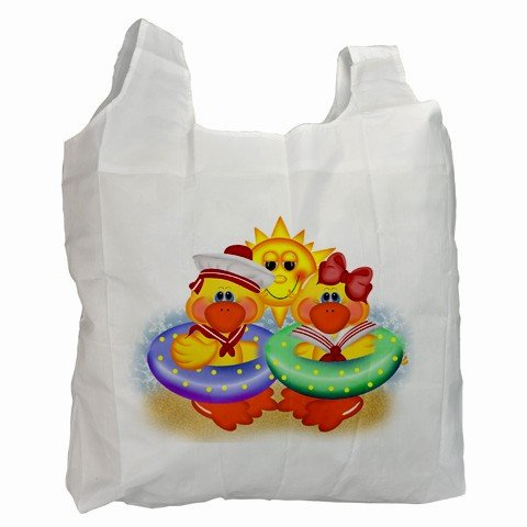 Polyester Recycle Green Tote Bag YELLOW RUBBER DUCKS BEACH Grocery Bag Handbag 27034087