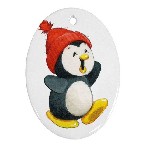 CUTE WINTER PENGUIN Ornament Porcelain Oval Shape Christmas Tree 27034328 BSEC