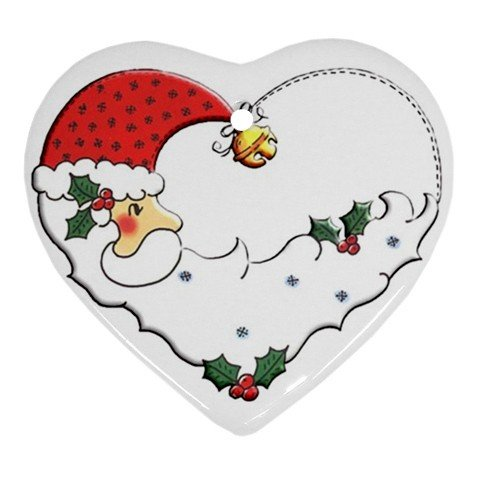 Santa Porcelain Heart Shape Christmas Tree Ornament 27175072 BSEC