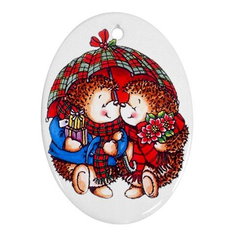 CHRISTMAS HEDGE HOGS Ornament Porcelain Oval Shape Christmas Tree 27175074 BSEC