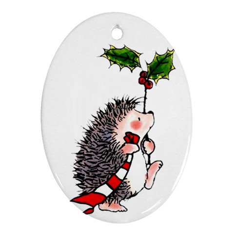 CHRISTMAS HEDGE HOGS Ornament Porcelain Oval Shape Christmas Tree 27175087 BSEC