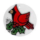 CHRISTMAS RED CARDINAL BIRD Ornament Porcelain Round Shape Christmas Tree 27175076 BSEC