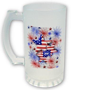 4th of July FROSTED Mug Beer mug stein 16 oz