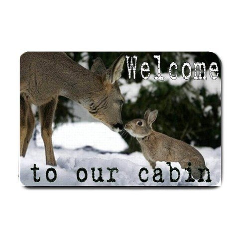 Cute Deer and Rabbit Cabin Indoor Outdoor Doormat Mats door mat #BSEC-CT