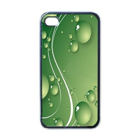 GREEN WATER DROPS ABSTRACT Apple iPhone 4 Case Cover #AN-28147441