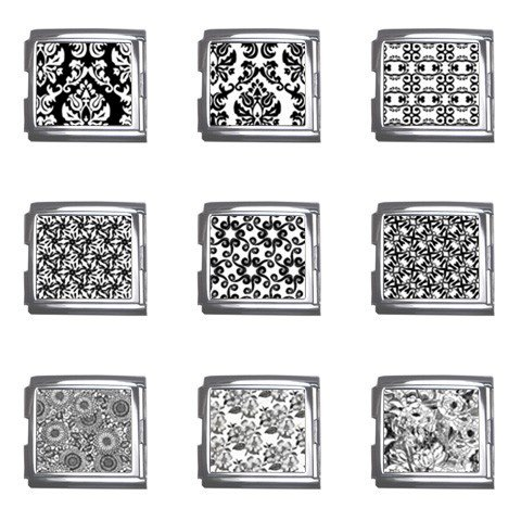 Classic Black and White Italian Charms Starter Bracelet Set of 9 pack MEGA Size 18mm 26865671
