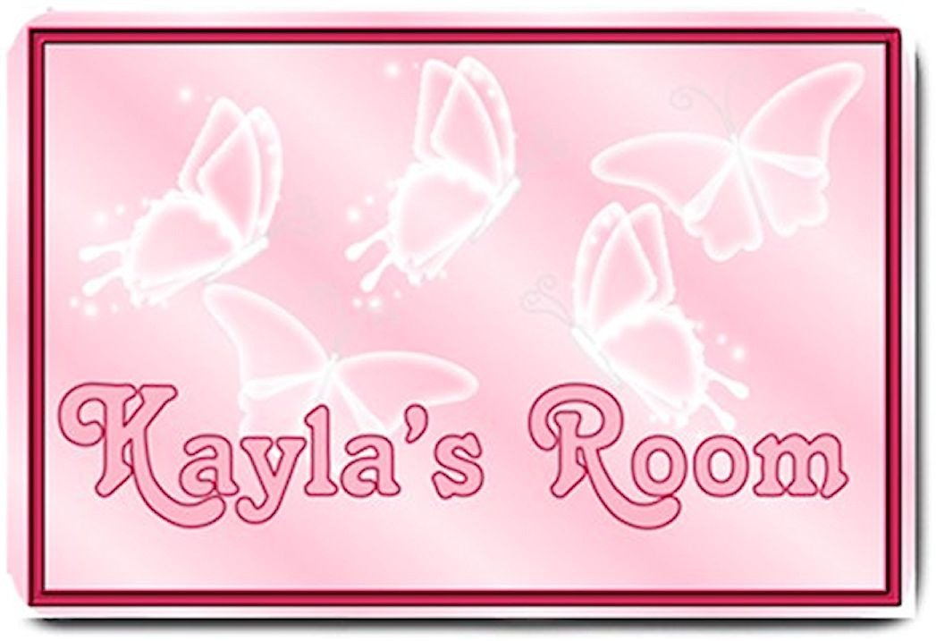 PERSONALIZED Pink Butterflies Design Indoor Room Doormat Mats Rug