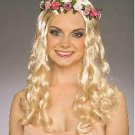 Long Blonde Floral Fairy Wig