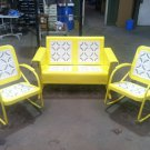 Vintage Metal Porch Glider Patio Swing Rockers Loveseat Old Restored Powdercoated Yellow FREE SHIP