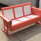 Vintage Metal Porch Glider Patio Swing Rockers Loveseat Old Restored Powdercoated FREE SHIP