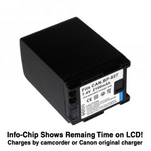 4.5hr Rechargeable Battery For Canon BP-827 (Fully-Decoded, Extened Capacity of BP-808 809 819)