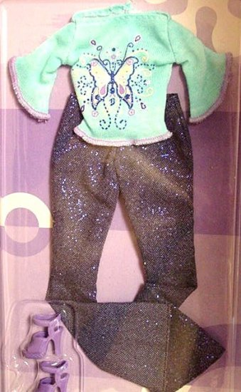 Barbie Doll T-Shirt Sparkle Blue Jeans & Shoes NIP!