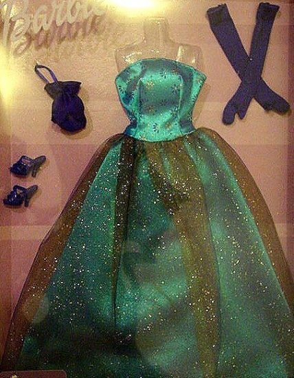 Barbie Doll Elegant Blue Glittery Gown NIP!!