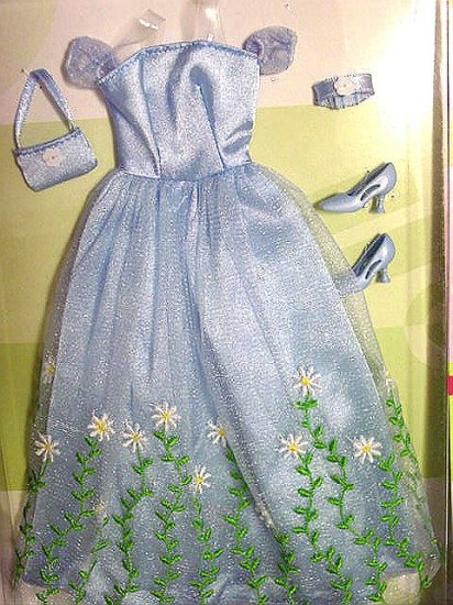 Barbie Doll Blue Floral Gown New In Package!!