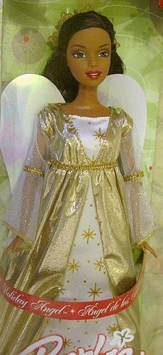 BLACK BARBIE GOLD HOLIDAY ANGEL 2005 NIB!