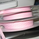 "3/8"" - Swiss Dots - Grosgrain Ribbon - Pink With White Dots - 5 yards"