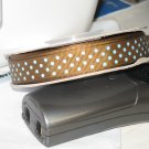 """5/8"""" - Swiss Dots - Grosgrain Ribbon - Brown With Light Blue Dots - 5 yards"""
