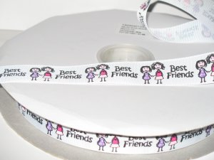 "7/8"" - Best Friends Grosgrain Ribbon - Pearl Pink Grosgrain Ribbon"