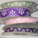 "3/8"" & 7/8"" Grosgrain Ribbon Grab Bag - Entire Lot in Picture  - Spring Moss/Purple/White/Ink Blue"