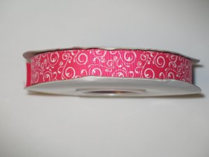 "5/8"" - Swirls - Grosgrain Ribbon - Shocking Pink With White Swirls - 5 yards"