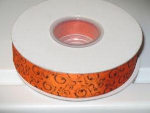 "7/8"" - Swirls - Grosgrain Ribbon - Orange with Black Swirls - 5 yards"