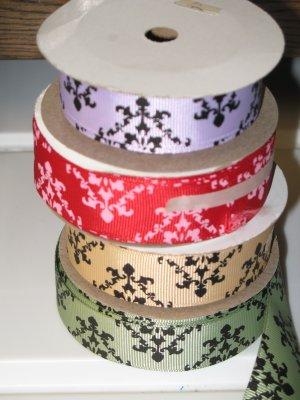 "7/8"" Damask Ribbon for Sale - Printed Grosgrain Ribbon"