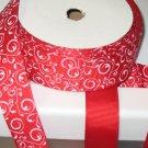 "5/8"" - Swirls - Grosgrain Ribbon - Red With White Swirls - 5 yards"