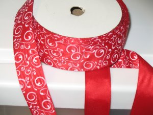 "5/8"" - Swirls - Grosgrain Ribbon - Red With White Swirls - 5 yards"